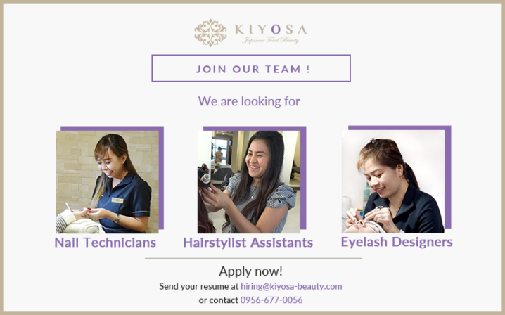 kiyosa japanese total beauty hiring nail technicians, hairstylist assistant and eyelash designers