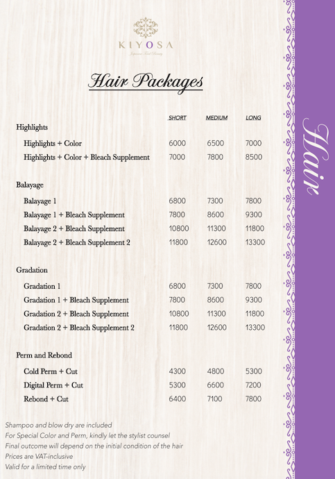 kiyosa japanese total beauty hair packages rates