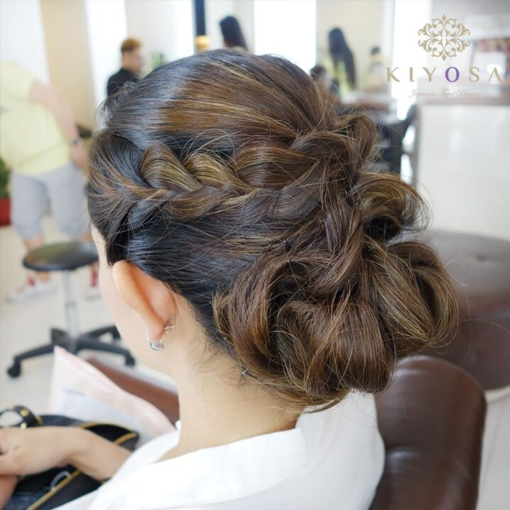 chic braided updo for intimate wedding and parties